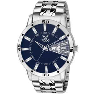 Fogg Stainless Steel Day and Date Blue Dial Analog Mens Watch