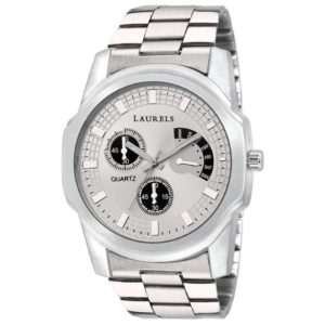 Laurels Silver Color Analog Mens Watch