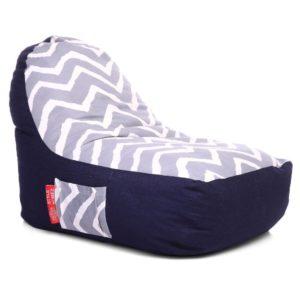 Style Homez Urban Design Denim Canvas Stripes Printed Chair Bean Bag