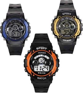 Swadesi Stuff Combo Of 3 Digital Black Dial Kids Watch