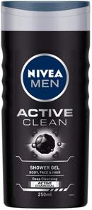 NIVEA MEN Shower Gel, Active Clean Body Wash, Men, 250ml